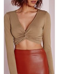 Missguided Natural Twist Front Detail Crop Top Camel
