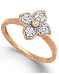 Macy's | Metallic Diamond Flower Ring In 10K Rose Gold (1/8 Ct. T.W.) | Lyst