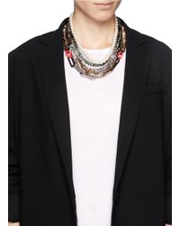 Venna | Multicolor Crystal Spike Pearl Chain Necklace | Lyst
