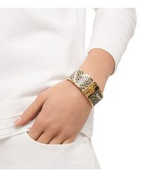 Tory Burch - Natural Skinny Snake-Print Leather Inlay Bracelet - Lyst