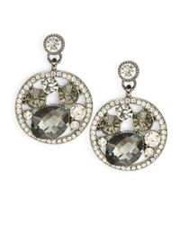 ABS By Allen Schwartz | Gray Rhinestone Drop Earrings | Lyst