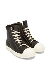 Rick Owens | Black Leather And Shearling High-top Sneakers | Lyst