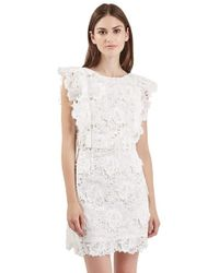 TOPSHOP - White Lace A-line Dress - Lyst