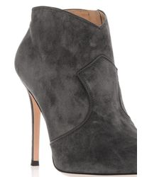 Gianvito Rossi Gray Mable Suede Ankle Boots