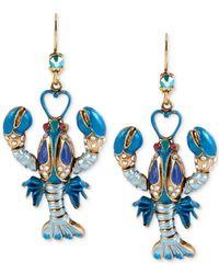Betsey Johnson | Blue Gold-tone Lobster Drop Earrings | Lyst