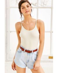 Urban Outfitters White Ribbed Bodysuit