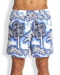 Vilebrequin - Blue Moorea Palm Tree Swim Trunks for Men - Lyst