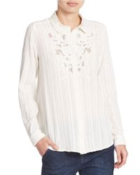 Free People | White Lace Detail Cotton Blouse | Lyst