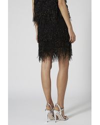 TOPSHOP Black Limited Edition Beaded Feather Hem Skirt
