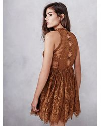 Free People | Brown Verushka Mini Dress | Lyst