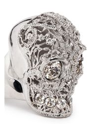 Alexander McQueen - White Crystal Filigree Skull Ring - Lyst