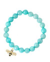 Sydney Evan - Blue Aqua Jade Beaded Bracelet With 14K Gold Diamond Bee Charm (Made To Order) - Lyst