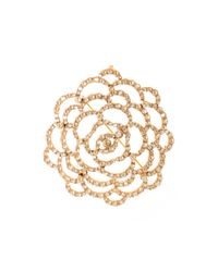 Oscar de la Renta Metallic Golden Swarovski Crystal Pavé Flower Brooch