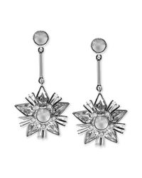 Givenchy - Metallic Silver Tone Frosted Crystal Drop Earrings - Lyst