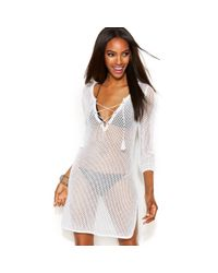 INC International Concepts - White Openknit Laceup Tunic Coverup - Lyst