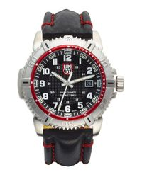 Luminox - Red 'sea - Modern Mariner' Leather Strap Watch for Men - Lyst