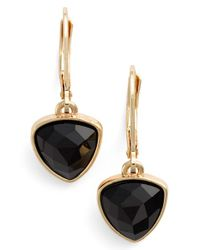 Anne Klein | Black Lever Back Earrings | Lyst