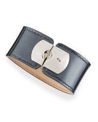 Balenciaga - Pearl Gray Leather Padlock Bracelet - Lyst