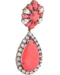Shourouk Pink Roma Gunmetal-Tone Crystal Earrings