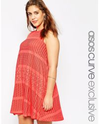 Asos Curve | Pink Swing Dress In Festival Lace | Lyst