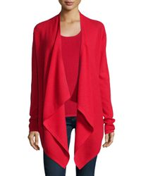 Neiman Marcus - Red Waffle-stitch Draped Cashmere Cardigan - Lyst