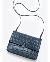 Vince Blue Signature Collection Stamped Croc Baby Cross-Body Bag
