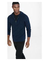 Express Metallic Navy Cotton Half Zip Hooded Sweater for men