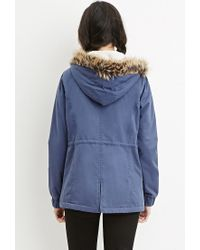 Forever 21 | Blue Faux Fur-trim Hooded Parka | Lyst