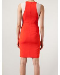 Stella McCartney - Red Two Tone Fitted Dress - Lyst
