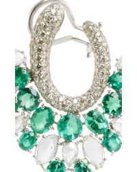 Sutra - Green Diamond And Emerald Earrings - Lyst