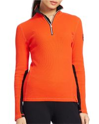 Lauren by Ralph Lauren | Orange Waffle-knit Mockneck Pullover Top | Lyst