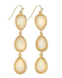 Fragments | Opalescent Threetier Drop Earrings White | Lyst