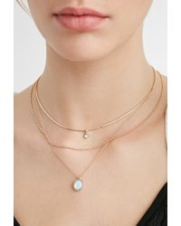 Forever 21 - Metallic Layered Faux Crystal Necklace Set - Lyst