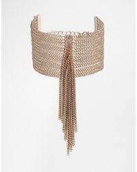Lipsy | Metallic Fleur East By Tassel Curb Chain Bracelet | Lyst