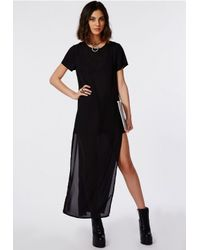 Missguided - Crepe Split Side Maxi T-shirt Dress Black - Lyst