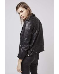 TOPSHOP - Black Distressed Leather Biker Jacket - Lyst