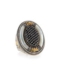 Konstantino Gray Mother-of-pearl & Spinel Oval Ring