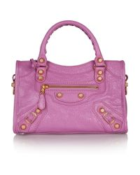 Balenciaga | Purple City Mini Textured-Leather Tote | Lyst