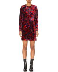 Sandro Red Long-sleeved Floral-print Velvet Dress