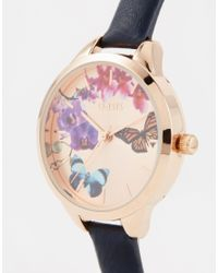 Oasis | Black Butterfly Print Dial Navy Leather Watch | Lyst