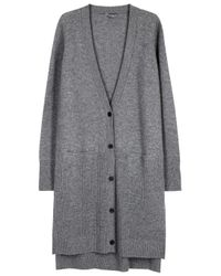 Vince - Gray Light Grey Ribbed Cashmere Cardigan - Lyst