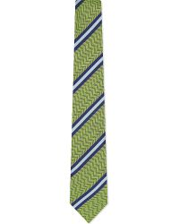 Eton of Sweden | Green Diagonal Stripe Herringbone Silk Tie for Men | Lyst