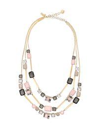 kate spade new york - Metallic Neapolitan Triple Strand Necklace - Lyst