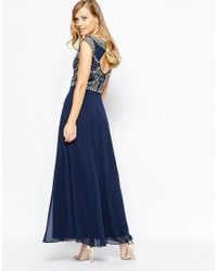 Frock and Frill | Blue Embellished Top Maxi Dress With Thigh Split | Lyst