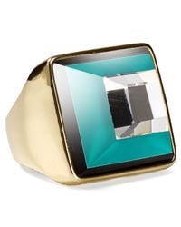 Marc By Marc Jacobs Green Stacked Glass Ring