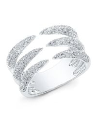 Anne Sisteron | Metallic 14kt White Gold Diamond Triple Horn Ring | Lyst