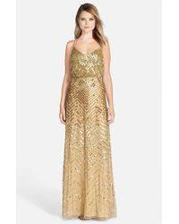 Adrianna Papell Metallic Cross Back Sequin Blouson Gown