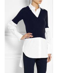 Alexander McQueen - Blue Wool-Blend And Cotton-Poplin Top - Lyst