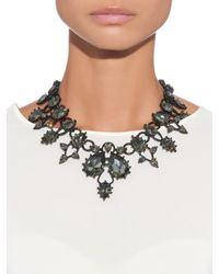 Oscar de la Renta - Metallic Black Swarovski Embellished Necklace - Lyst