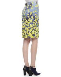 Prabal Gurung - Blue Floral-print Ruffle-inset Pencil Skirt - Lyst